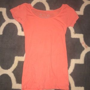 Coral/Pink Scoop Neck Tee